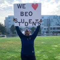 Black Excellence Orientation 2019 students holding signs 2